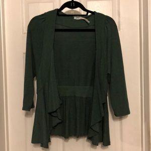 Emerald green open cardigan